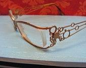 Vintage Eyeglasses Womens Glasses Metal Circles and Rhinestones