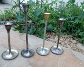 Vintage Silver plate Candle Holders Graduated Set of 4 Tarnished Candlesticks