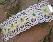 Vintage Lace Floral Cuff Bracelet with Christmas Green Beads / Lace Fabric Jewelry in White and Green