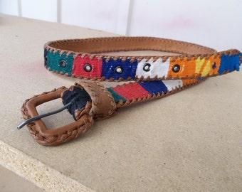Vintage Woven Guatemalan Belt Southwestern Tribal Belt Colorful Ethnic Leather Belt Size Small Woven Fabric Inlay