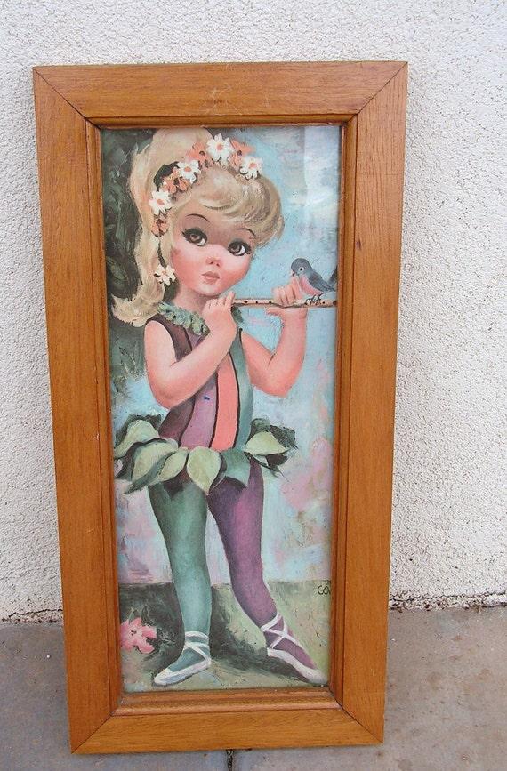 Vintage Goji Art Print Wall Kitsch Hanging Ballerina Pixie