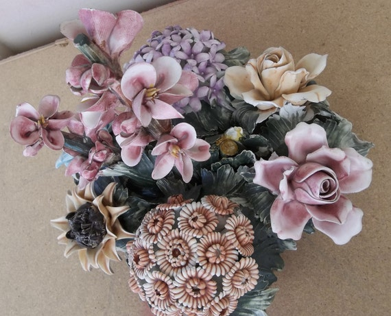 Vintage Antique Capodimonte Ceramic Sculpted Flowers Centerpiece Majolica Italy