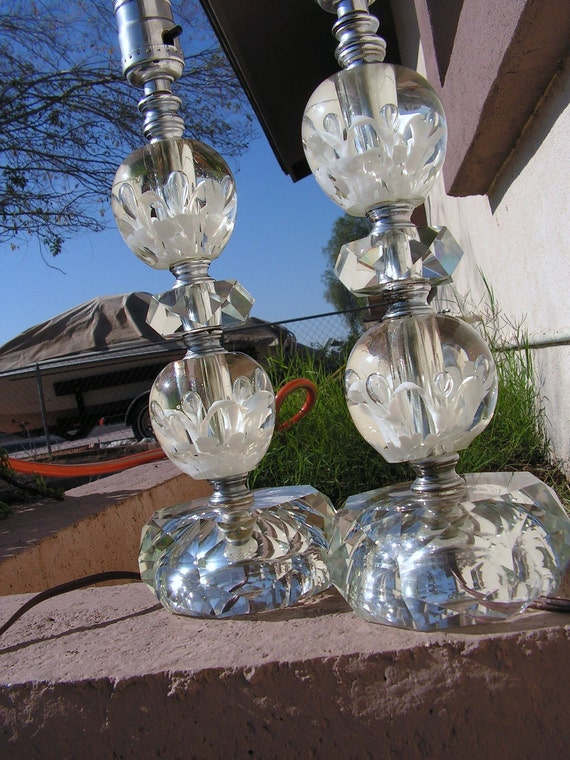 ON HOLD RESERVED Vintage St. Clair Glass Paperweight Lamps Finial / Clear Art Glass flowers bubbles