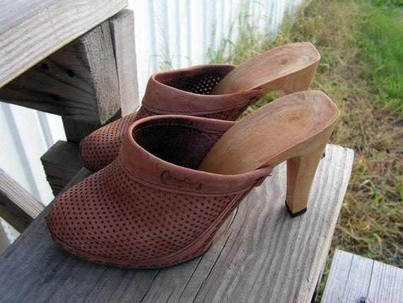 Sale Vintage Candies Wooden Heels Pumps Clogs By Retrosideshow