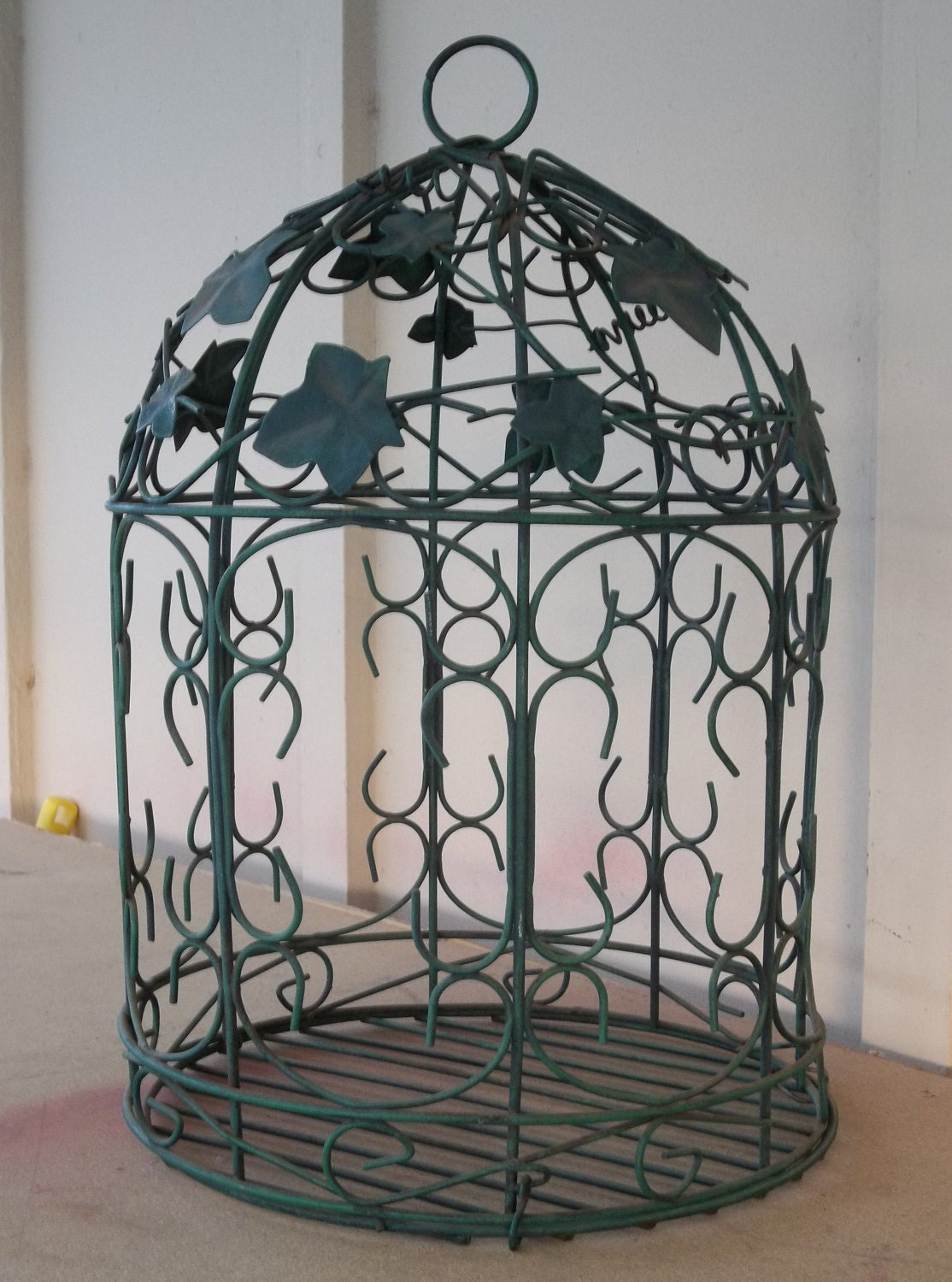 large vintage bird cage hanging green iron decorative leaves. Black Bedroom Furniture Sets. Home Design Ideas