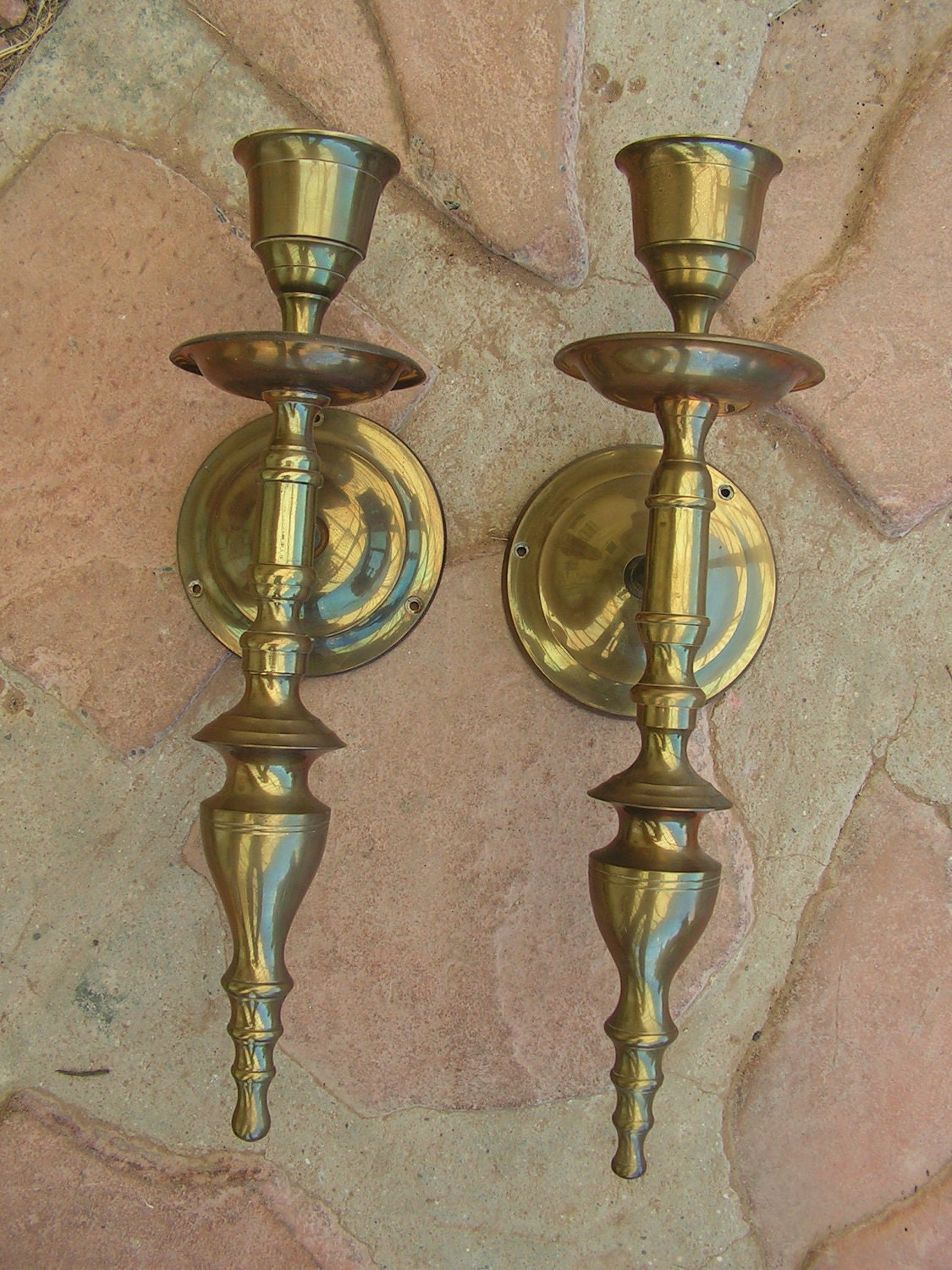 Large Wall Sconces With Candles : Vintage Brass Wall Sconces Candle Holders Large by retrosideshow