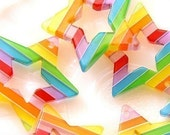Plastic Star Charms - 35mm Rainbow Star Resin Pendants - 6 pc set