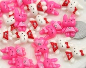 26mm Alice Bunny Resin Cabochons - 12 pc set
