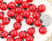 Resin Flatbacks - 14mm Cute Ladybug Resin Cabochons - 8 pc set