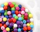 Round Acrylic Beads - 8mm Gumball Bubblegum Resin Beads - 150 pc set