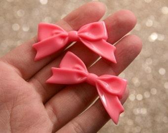 Resin Bow Cabochons - 47mm Elegant Coral Pink Ribbon Resin Cabochons - 6 pc set