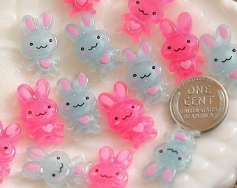 Bunny Cabochons - 20mm Bright Bunny Resin Cabochons - 12 pc set