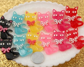 Resin Cabochons - 38mm Bow Kitty Resin Cabochons - 6 pc set