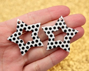 Plastic Star Charms - 35mm White Polka Dot Stars Resin Charms - 6 pc set