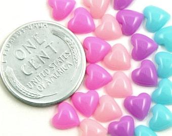 6mm Pastel Heart Mini Resin Cabochons - 50 pc set