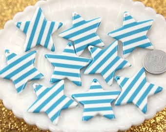 35mm Blue Stripe Stars Resin Charms - 6 pc set