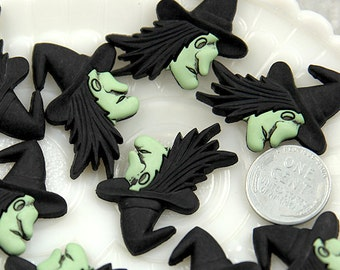 Witch Resin Flatbacks - 32mm Halloween Classic Witch Resin Cabochons - 6 pc set