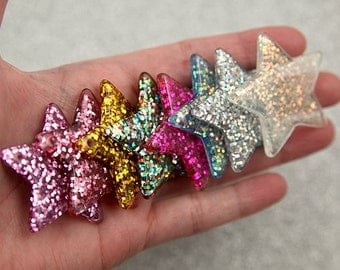 Resin Star Charms - 40mm Mixed Colors Set Glitter Stars Resin Charms or Pendants - 7 pc set