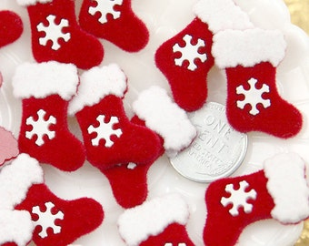 Christmas Cabochons - 25mm Fuzzy Christmas Stocking Resin Cabochons - 6 pc set