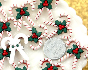 25mm Lovely Christmas Candy Cane Resin Cabochons - 6 pc set
