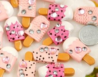 Flatback Cabochons - 30mm Pink Ice Cream Bar Resin Cabochons - 8 pc set