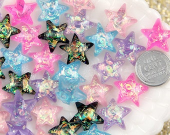 Pastel Stars - 17mm Pastel AB Glitter Star Resin Cabochons - 10 pc set