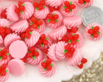Kawaii Food Cabochon - 15mm Strawberry Fruit Pink Whipped Cream Dollop Resin Cabochons - 6 pc set