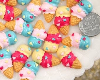 Ice Cream Resin Cabochons - 17mm Colorful Double Scoop Ice Cream Resin Cabochons - 6 pc set