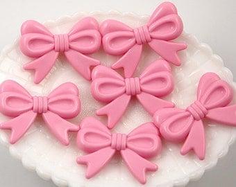 Kawaii Bow Beads - 47mm Light Pink Ribbon Resin Beads - 4 pc set