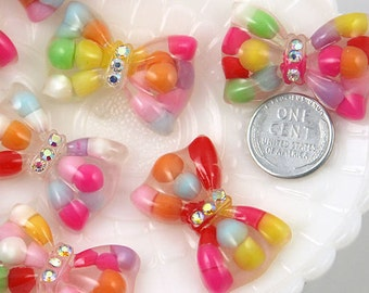 Candy Resin Cabochons - 34mm Bubble Bow Resin Cabochons - 6 pc set
