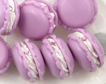 34mm Fake Purple Macaron Decorations or Charms - for making fake food crafts - 3 pc set