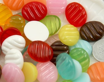 Resin Candy Cabochons - 20mm Fake Hard Candy Resin Cabochons - Stripe style - 7 pc set