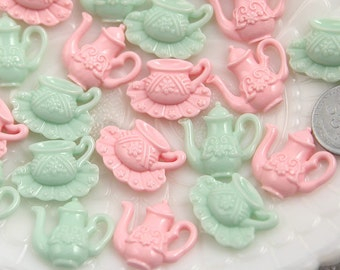 Pastel Resin Cabochons - 20mm Tea Set Resin Cabochons - 12 pc set
