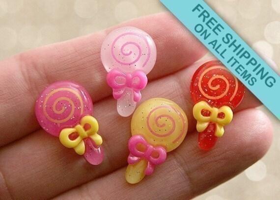 20mm Lollipop Resin Cabochons - 6 pc set
