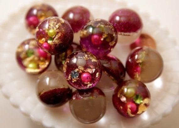 25mm Dark Fuchsia Pink Crystal Ball Resin Beads - 5 pc set