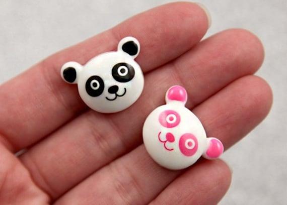 22mm Panda Resin Cabochons - 6 pc set