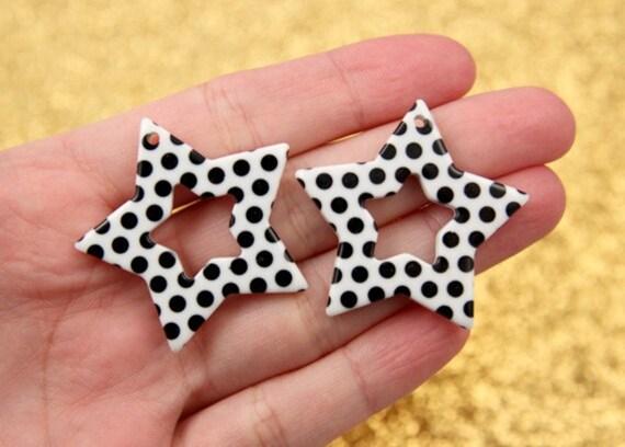Plastic Star Charms - 35mm White Polka Dot Stars Resin Charms - 6 pc set