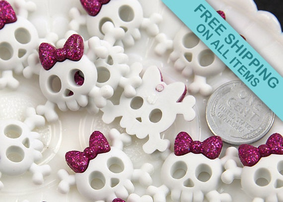 26mm White Baby Skull and Bones Resin Cabochons - 6 pc set