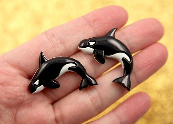 33mm Orca or Killer Whale Resin Cabochons - 6 pc set