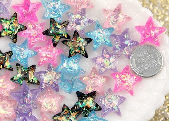 Pastel Stars - 17mm Pastel AB Glitter Star Resin Cabochons - 10 pc set