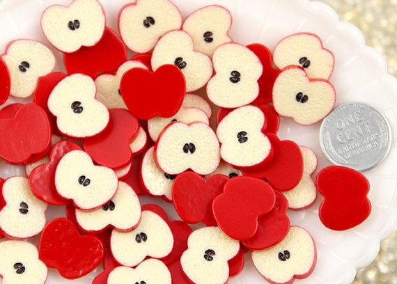 14mm Cute Apple Fruit Slices Resin Cabochons - 8 pc set