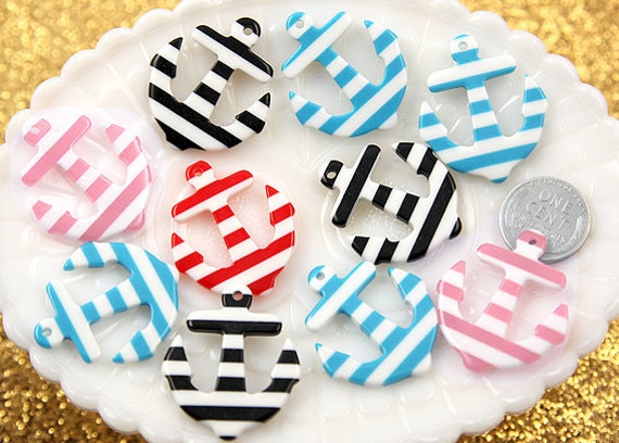 Anchor Charms - 34mm Striped Anchors Resin Charms or Pendants - 5 pc set