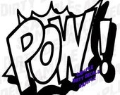 POW  -  Comic book style decal vinyl graphic sticker, 4 X 4 small