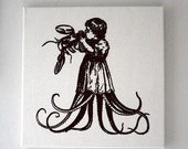 Starving Child Eating Juicy Lobster silk screened natural canvas wall hanging 16x16 BLACK