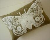 Giant IO Moth silk screened cotton canvas throw pillow 12x18 white on khaki