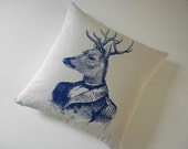 General Deer silk screened cotton canvas throw pillow 18 inch navy