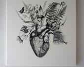 Growing Human Heart silk screened natural canvas wall hanging 16x16 black