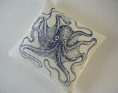 Vintage Octopus silk screened cotton throw pillow 18 inch navy unbleached
