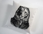Professor Lion silk screened cotton canvas throw pillow 18 inch
