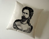 Bearded Lady or Man in Drag silkscreened cotton canvas throw pillow 18 inch square